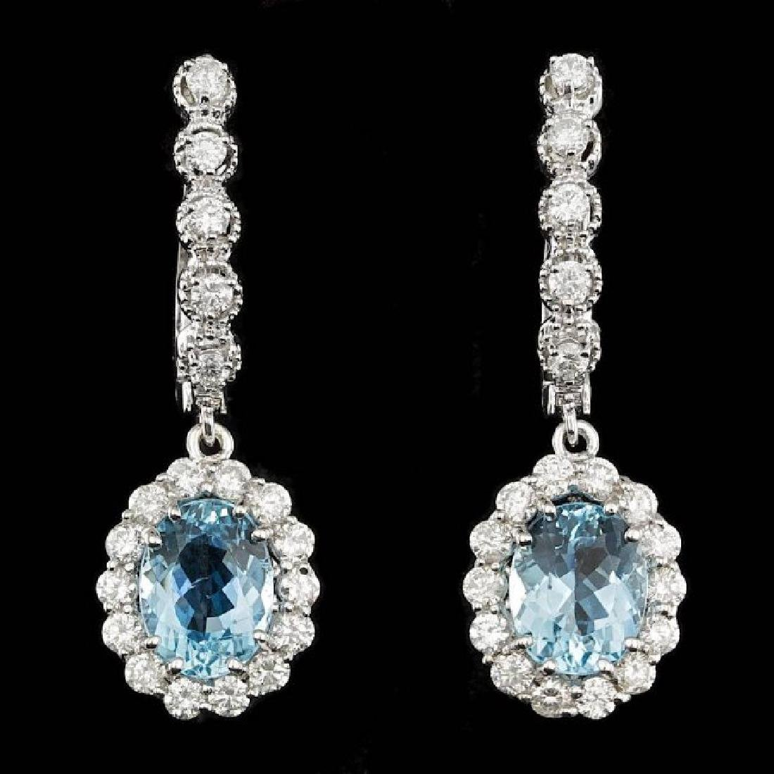 14k 3.00ct Aquamarine 1.35ct Diamond Earrings