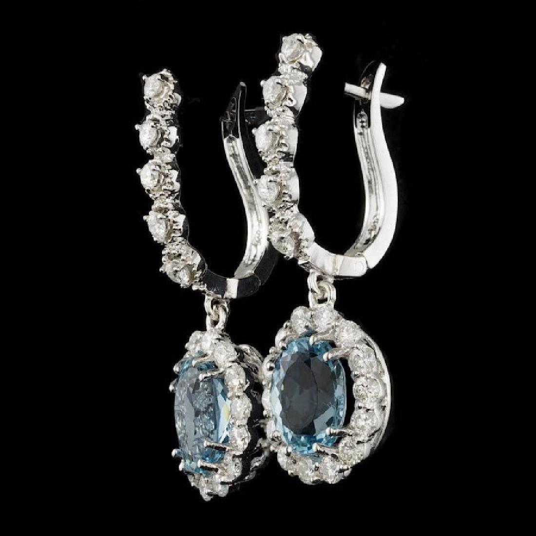 14k 3.00ct Aquamarine 1.35ct Diamond Earrings - 2
