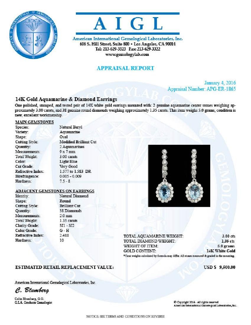 14k 3.00ct Aquamarine 1.35ct Diamond Earrings - 5
