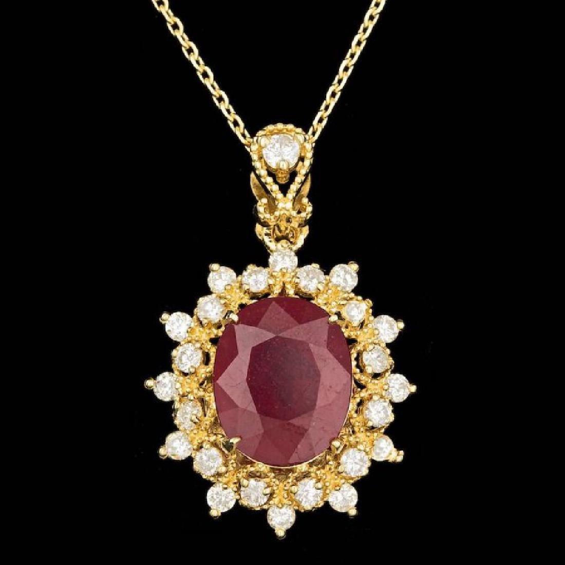 14k Gold 5.50ct Ruby 0.75ct Diamond Pendant