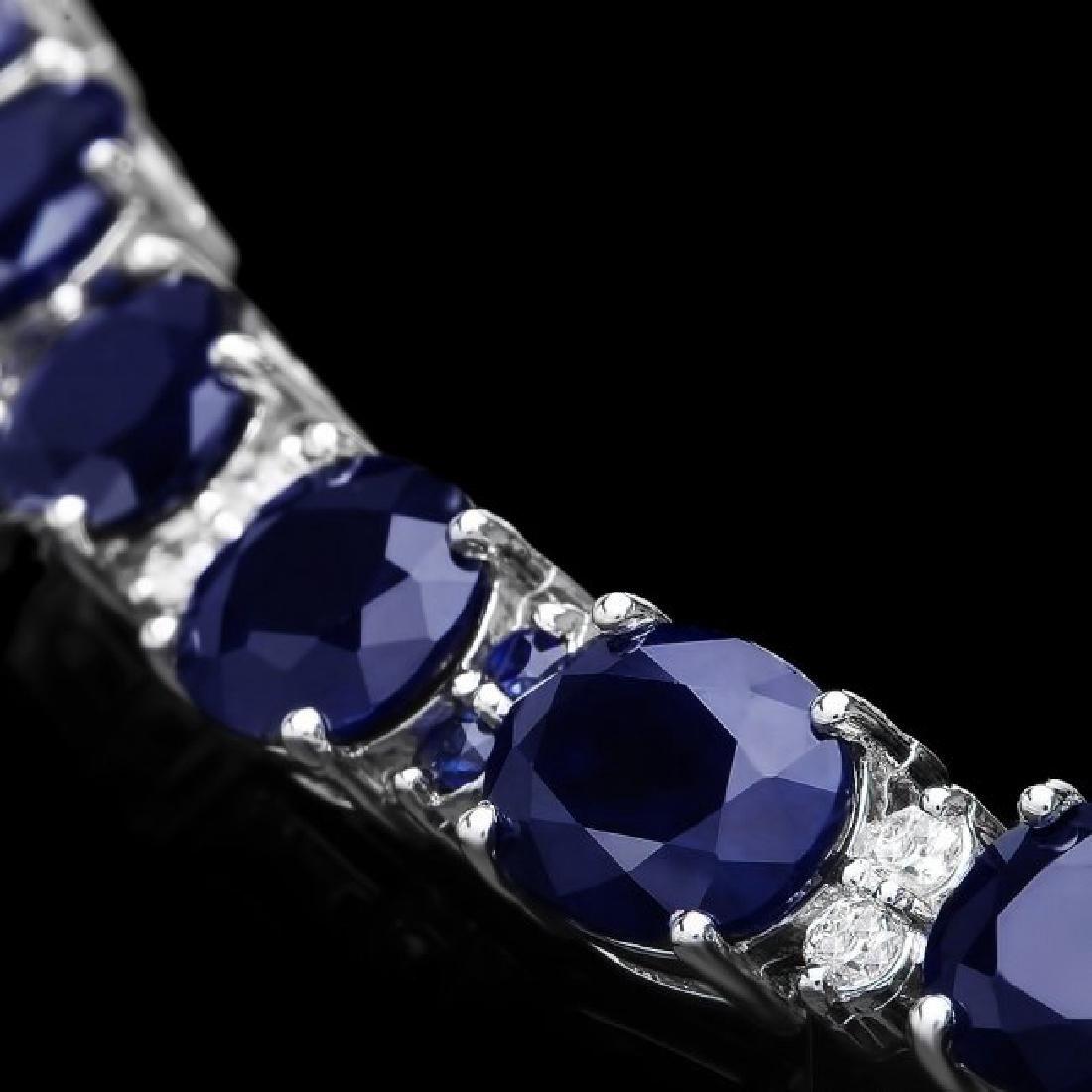 14k Gold 35ct Sapphire 0.70ct Diamond Bracelet - 2