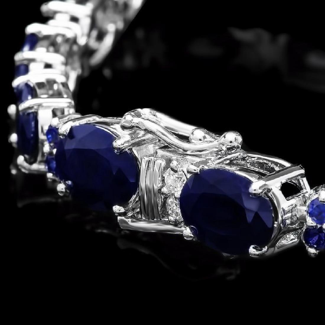 14k Gold 35ct Sapphire 0.70ct Diamond Bracelet - 3