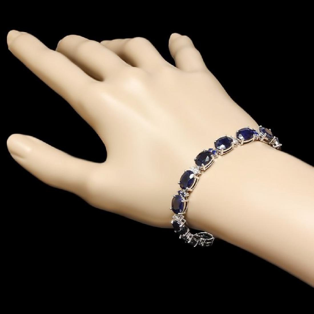 14k Gold 35ct Sapphire 0.70ct Diamond Bracelet - 5