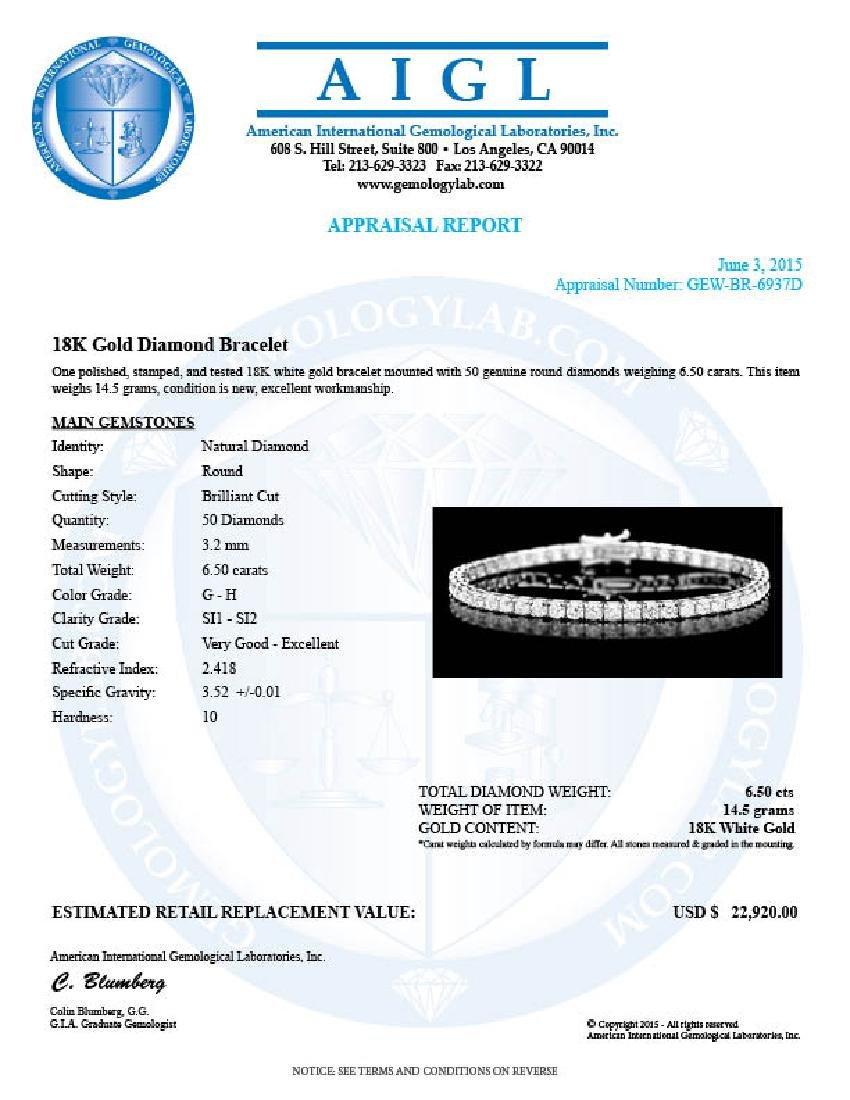 18k White Gold 6.50ct Diamond Bracelet - 6