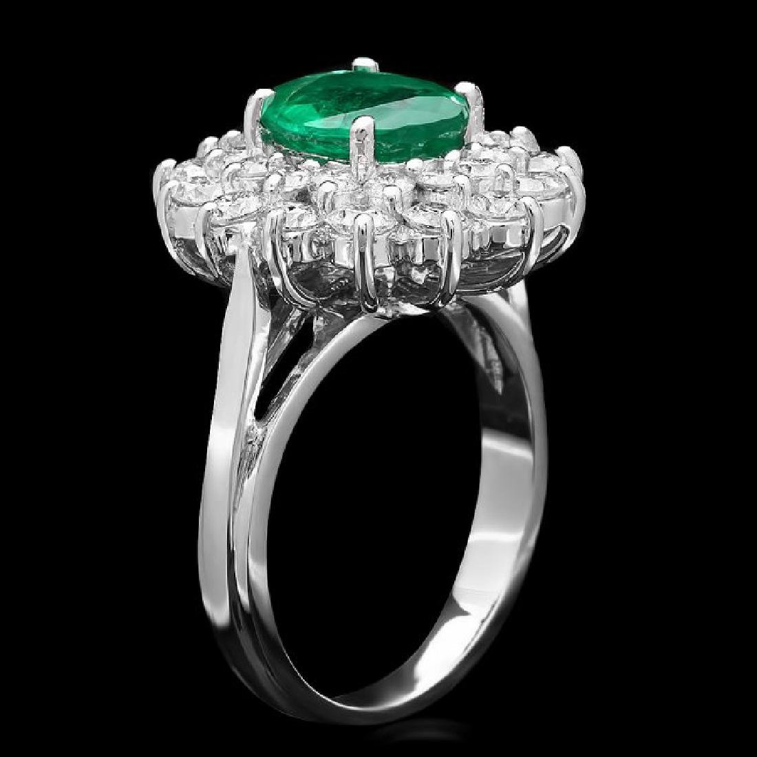 14k White Gold 1.60ct Emerald 1.45ct Diamond Ring - 2