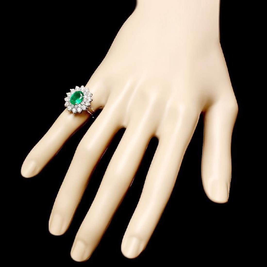 14k White Gold 1.60ct Emerald 1.45ct Diamond Ring - 3