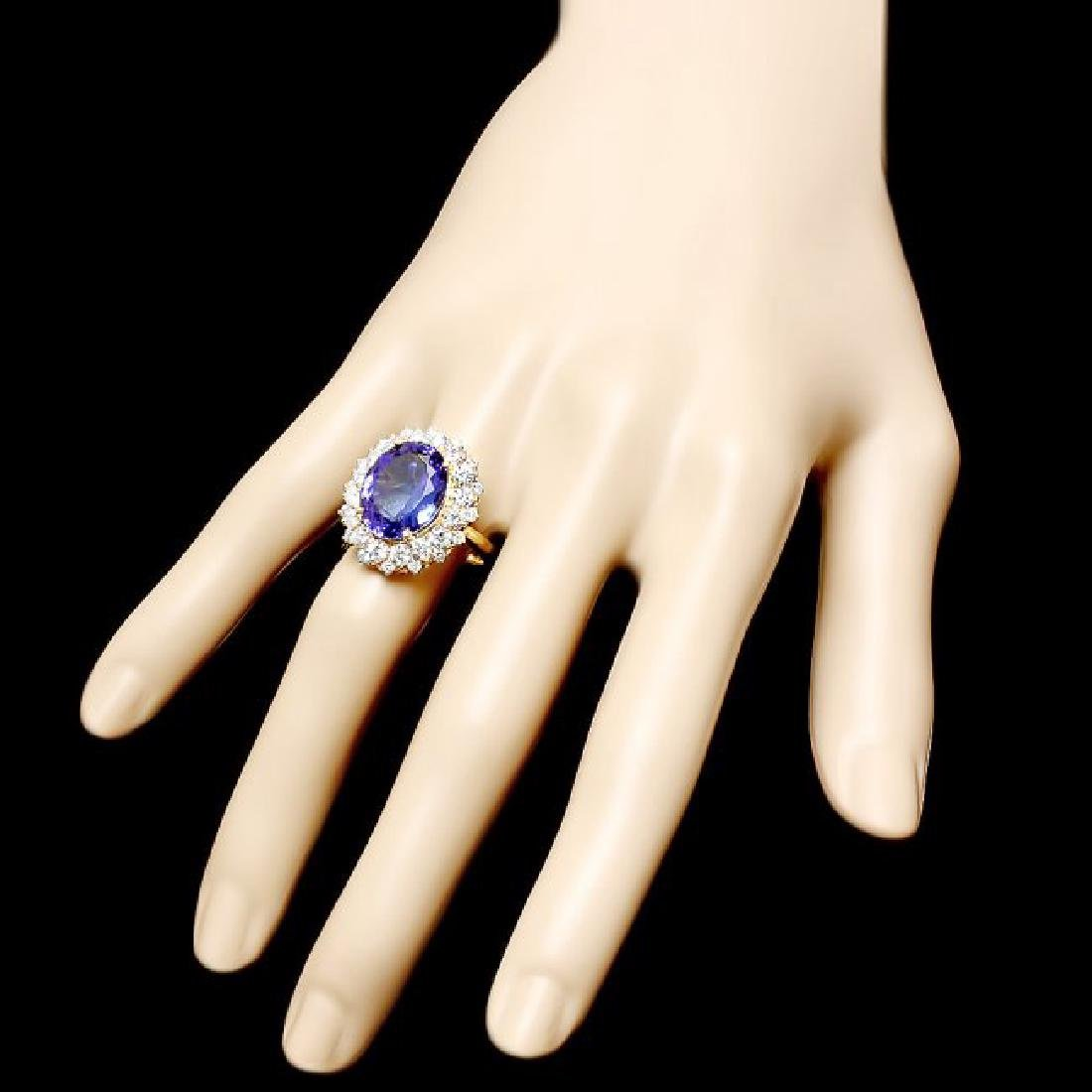 14k Yellow Gold 8ct Tanzanite 1.90ct Diamond Ring - 3