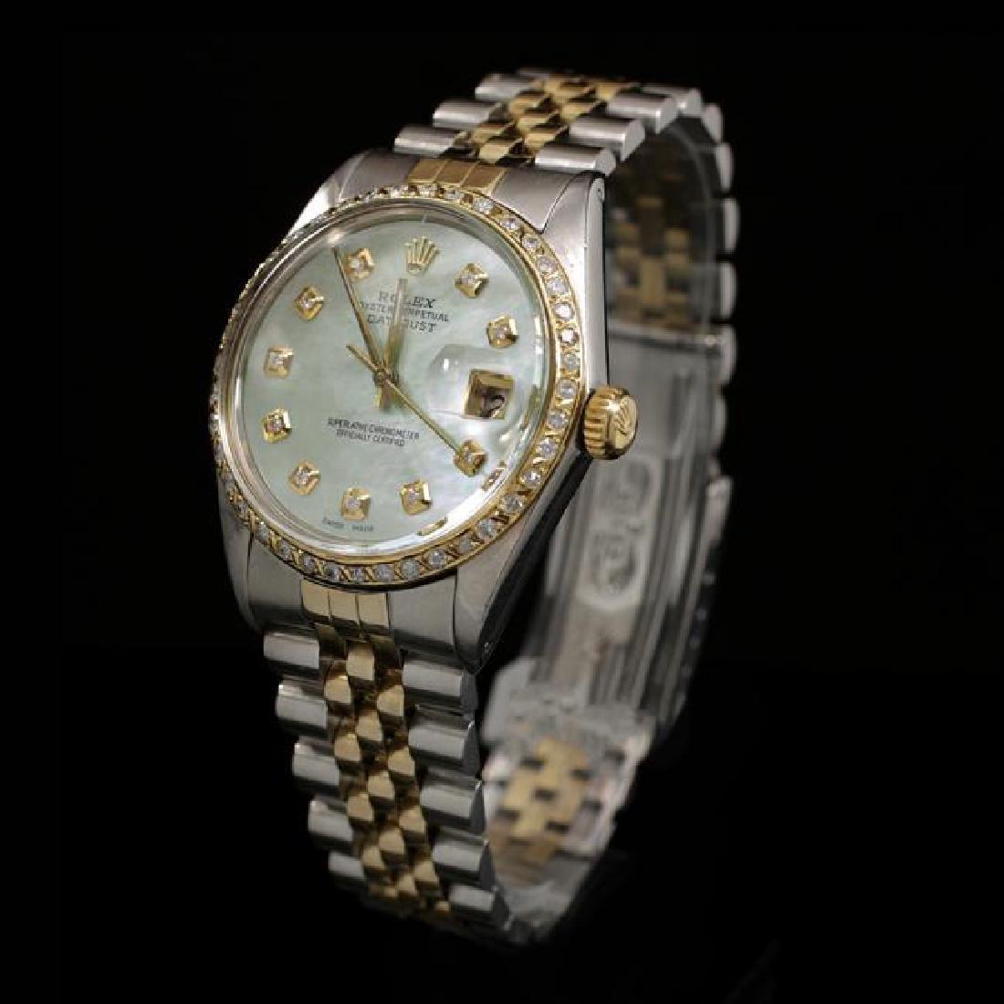 Rolex DateJust Two-Tone 36mm Custom Diamond Bezel Men's - 2