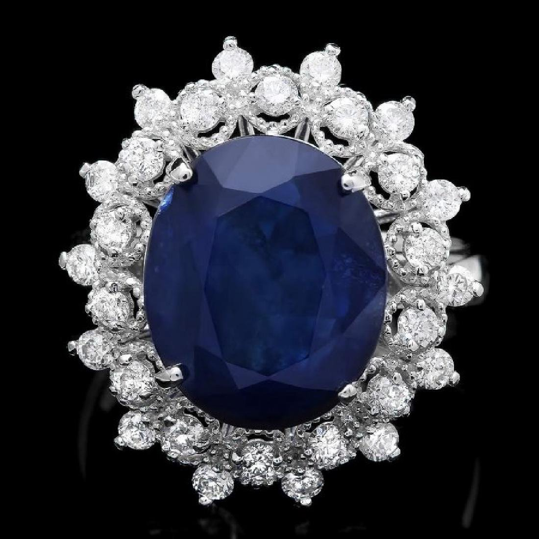 14k Gold 7.00ct Sapphire 0.80ct Diamond Ring