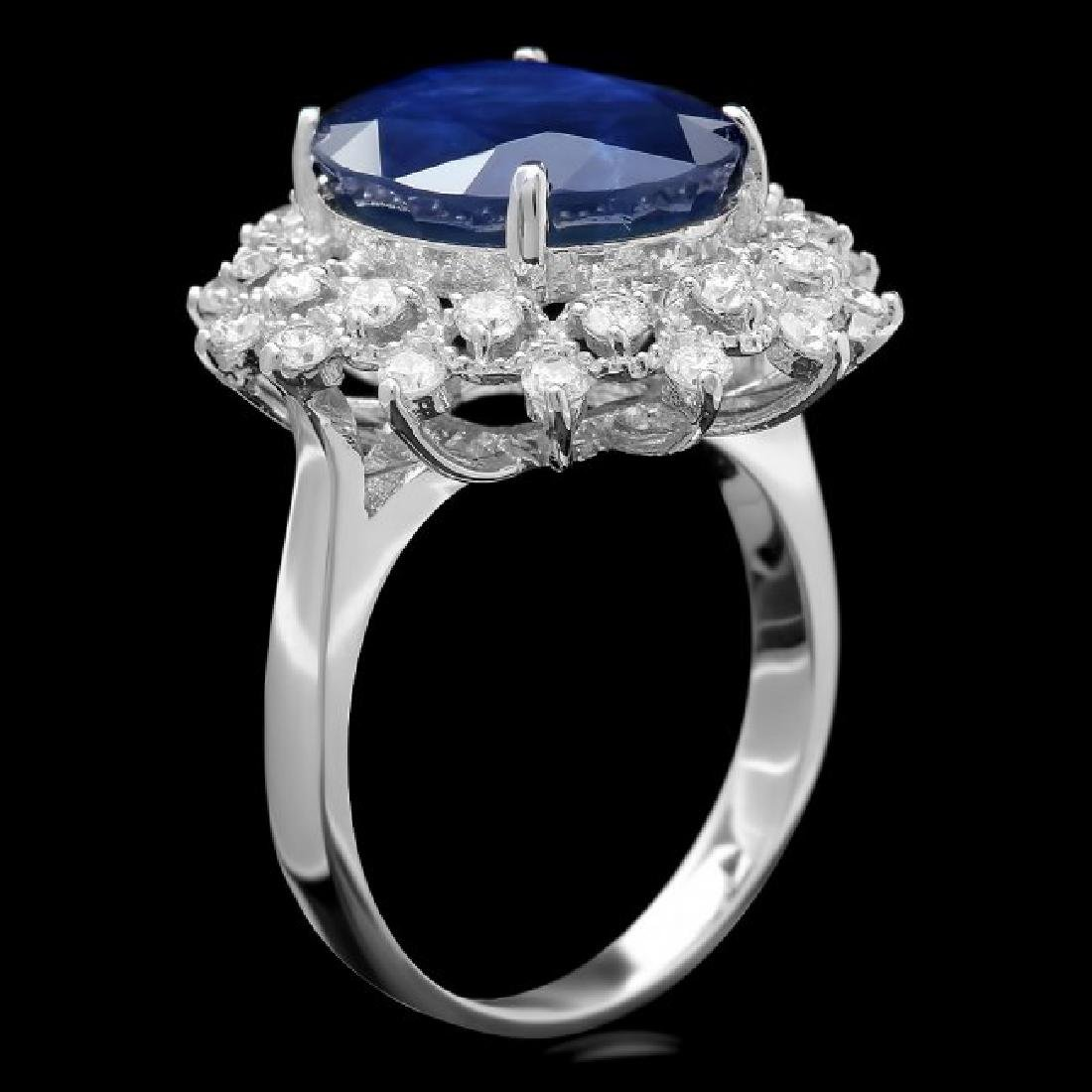 14k Gold 7.00ct Sapphire 0.80ct Diamond Ring - 3