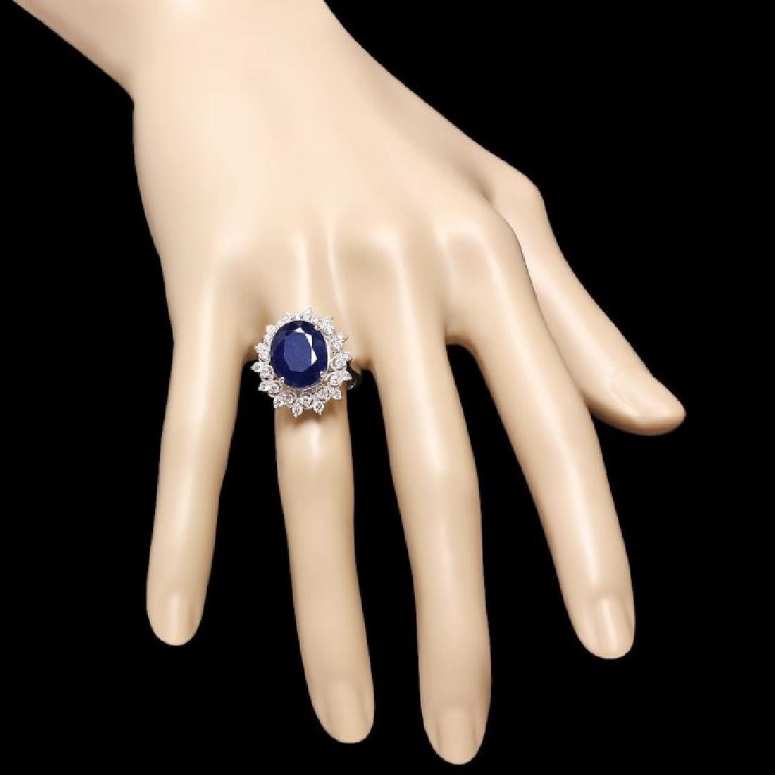 14k Gold 7.00ct Sapphire 0.80ct Diamond Ring - 4