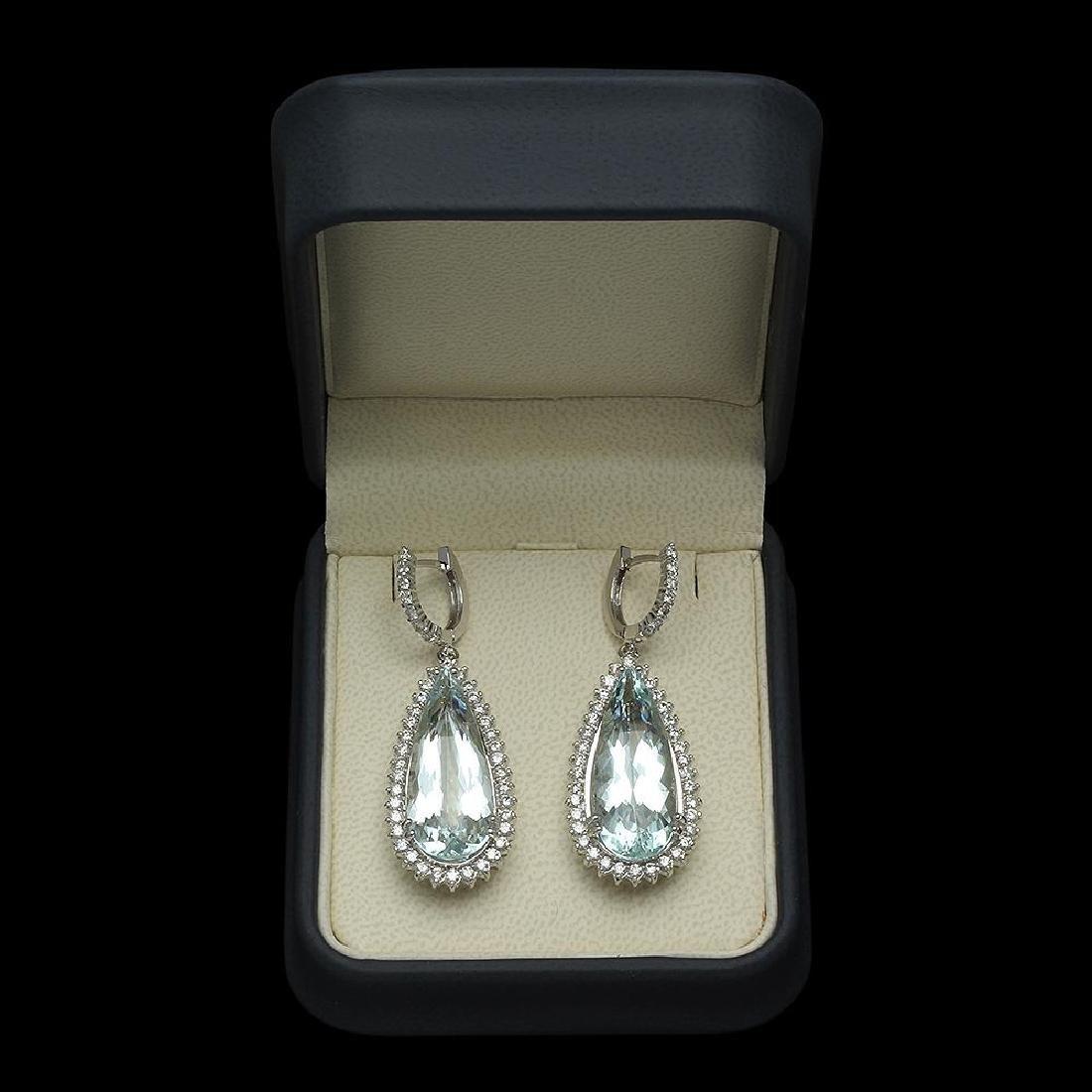 14K Gold 23.10ct Aquamarine 2.50ct Diamond Earrings - 2