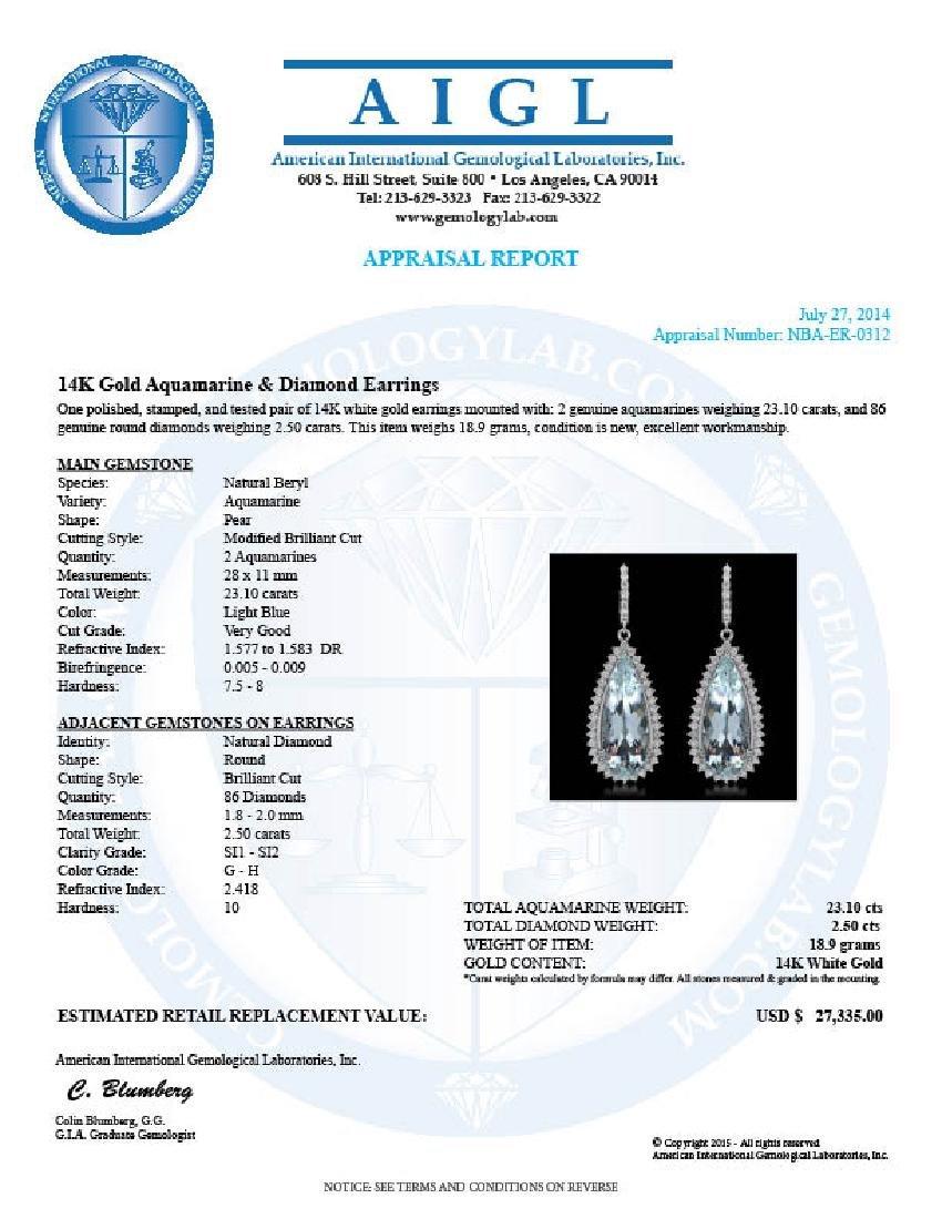 14K Gold 23.10ct Aquamarine 2.50ct Diamond Earrings - 3