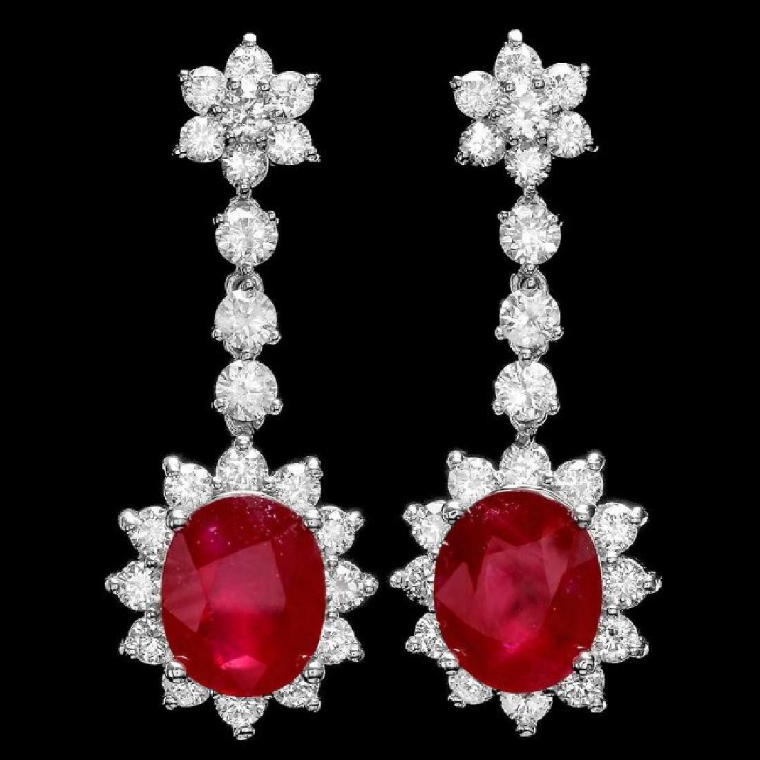 14k Gold 10.00ct Ruby 3.90ct Diamond Earrings