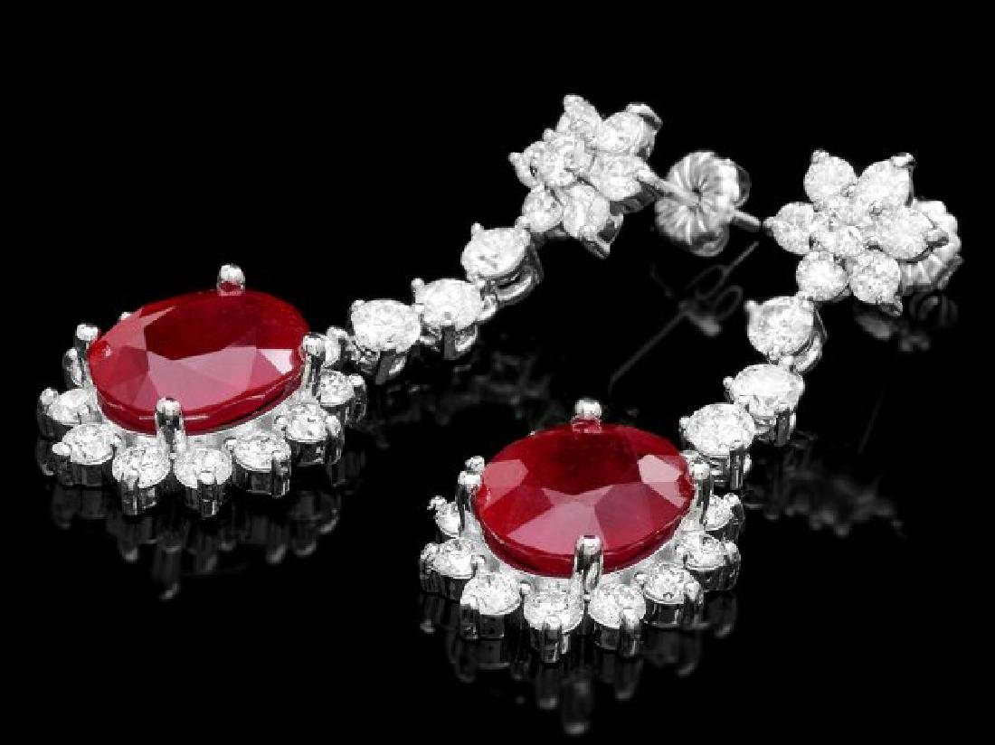 14k Gold 10.00ct Ruby 3.90ct Diamond Earrings - 2