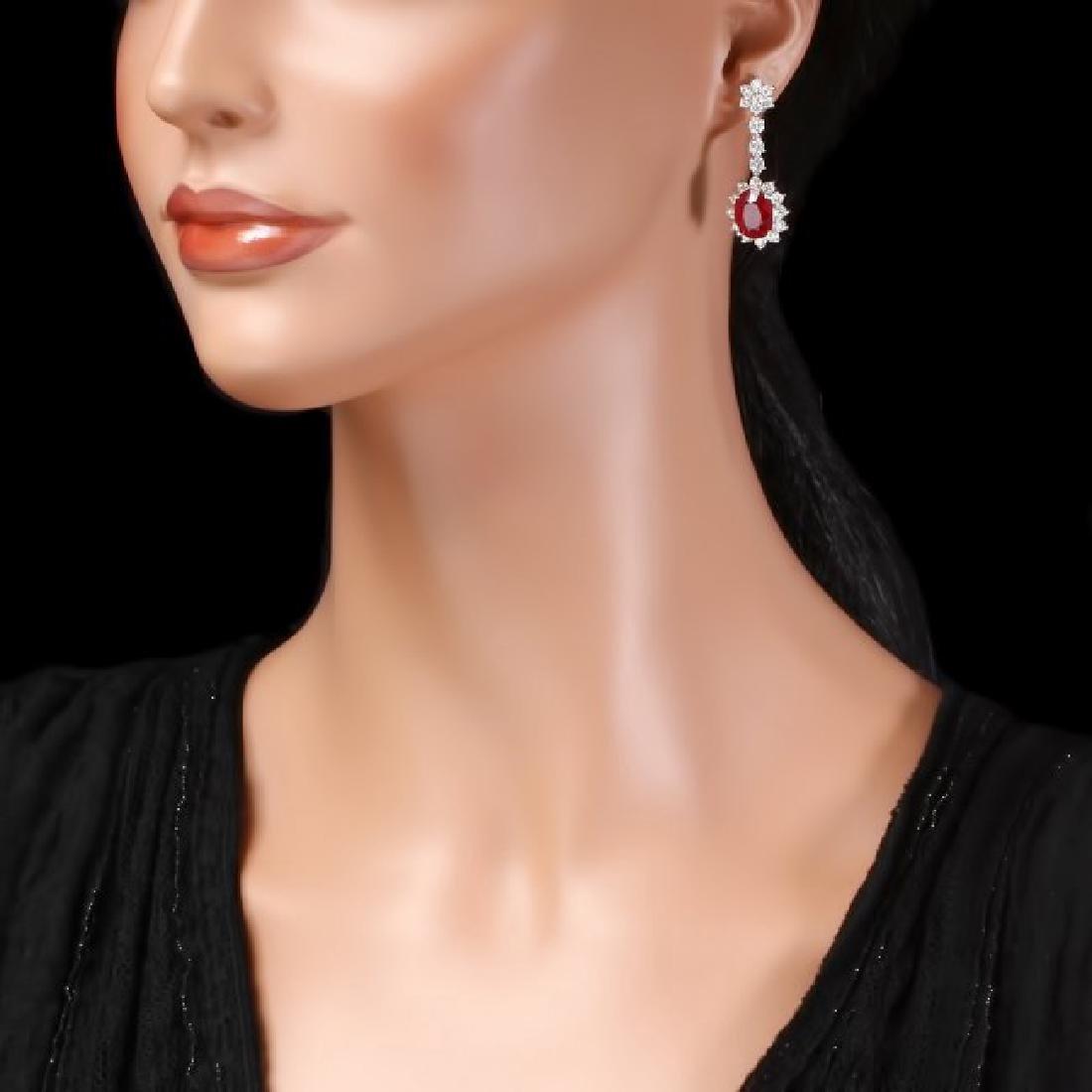 14k Gold 10.00ct Ruby 3.90ct Diamond Earrings - 3