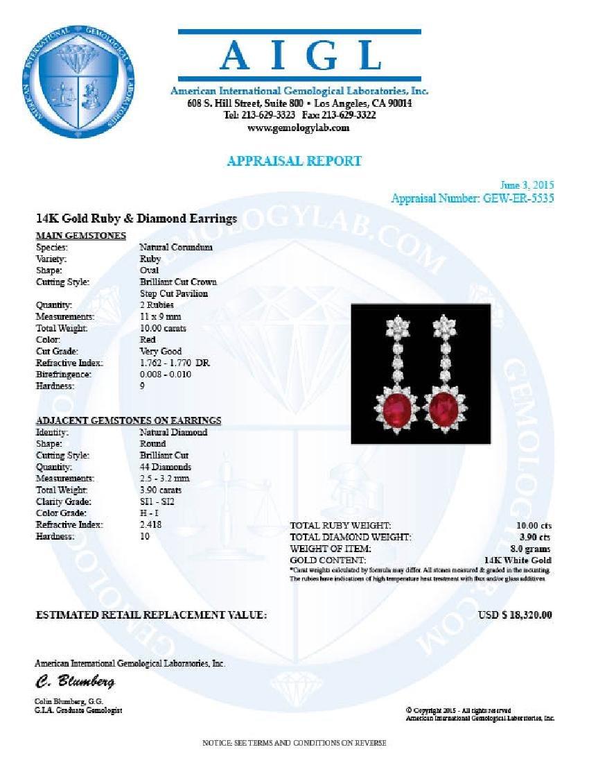 14k Gold 10.00ct Ruby 3.90ct Diamond Earrings - 4