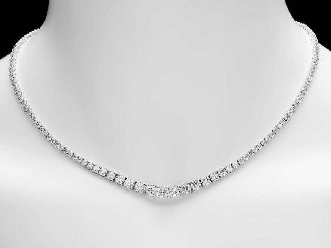 18k White Gold 11.50ct Diamond Necklace - 5