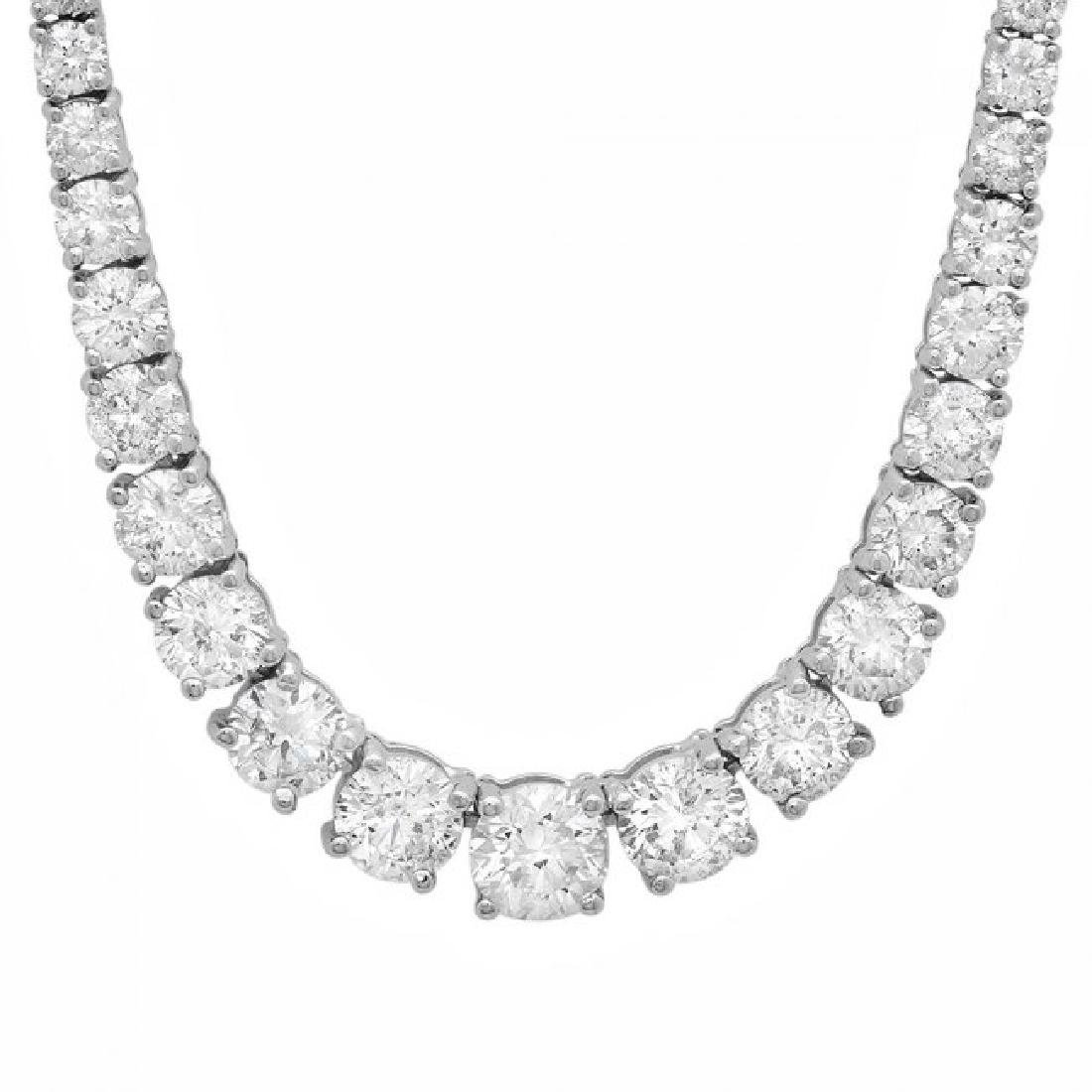 18k White Gold 11.50ct Diamond Necklace - 6