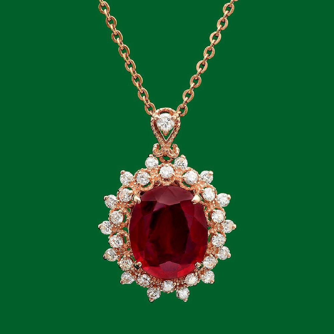 14k Gold 6.48ct Ruby 0.87ct Diamond Pendant