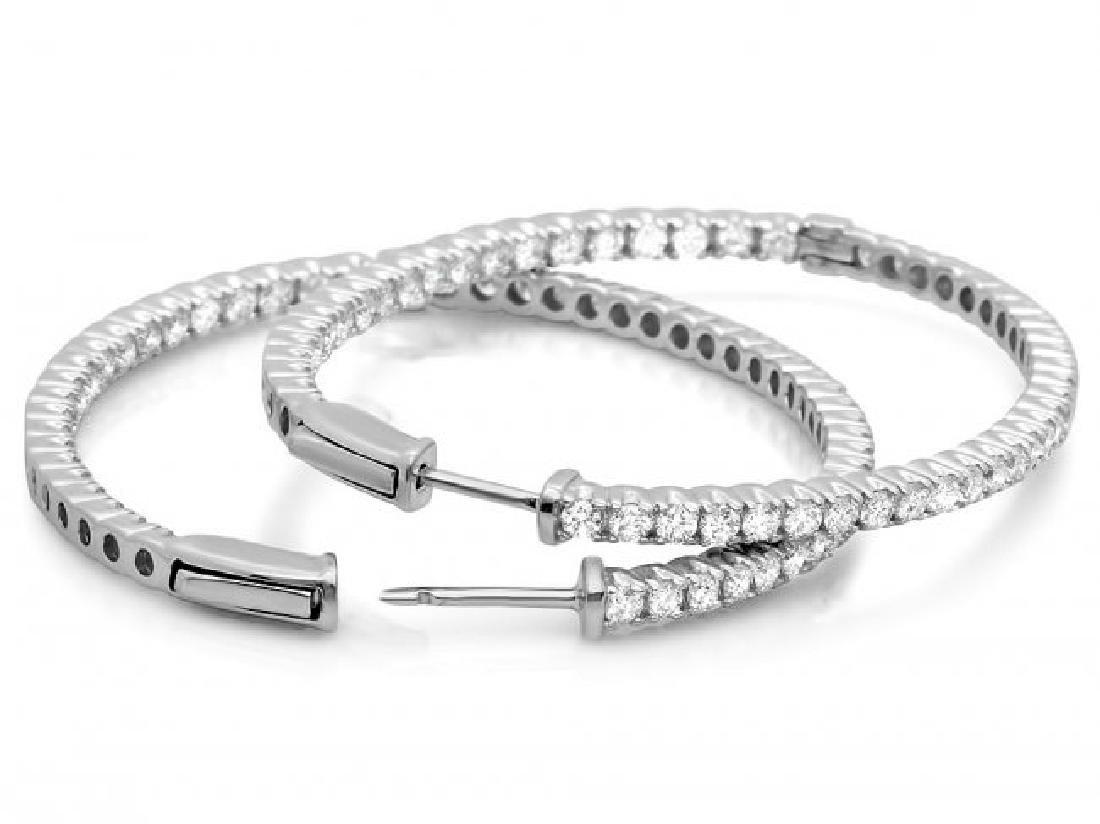 14k White Gold 3.25ct Diamond Earrings - 3