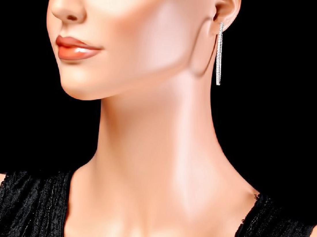 14k White Gold 3.25ct Diamond Earrings - 4