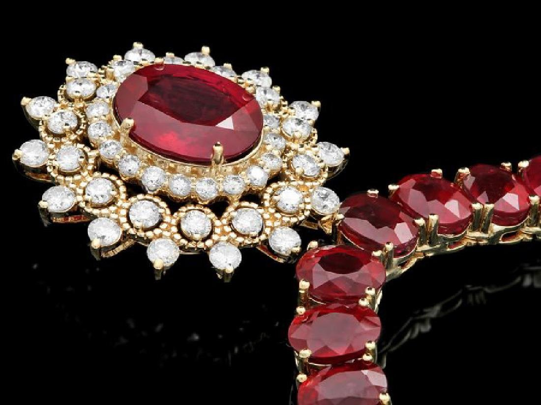 14k Yellow Gold 93ct Ruby 1.55ct Diamond Necklace - 2