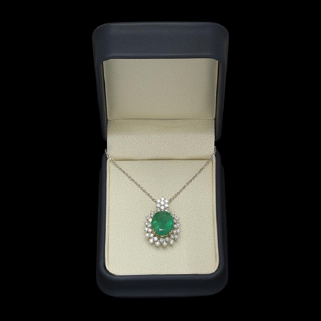 14K Gold 7.50ct Emerald 1.70ct Diamond Pendant - 3