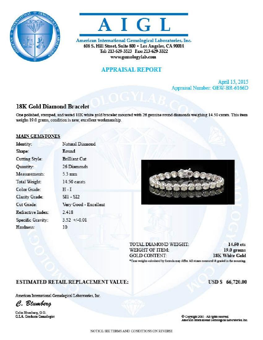 18k White Gold 14.50ct Diamond Bracelet - 3