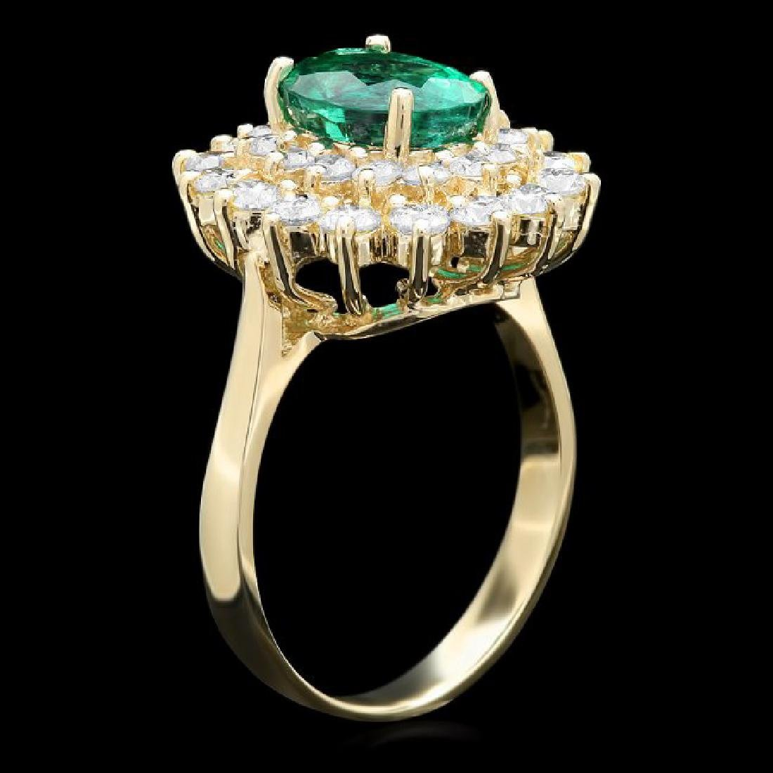 14k Gold 2.00ct Emerald 1.50ct Diamond Ring - 2