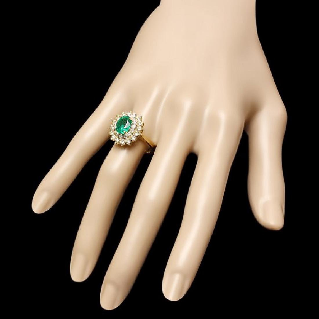 14k Gold 2.00ct Emerald 1.50ct Diamond Ring - 3