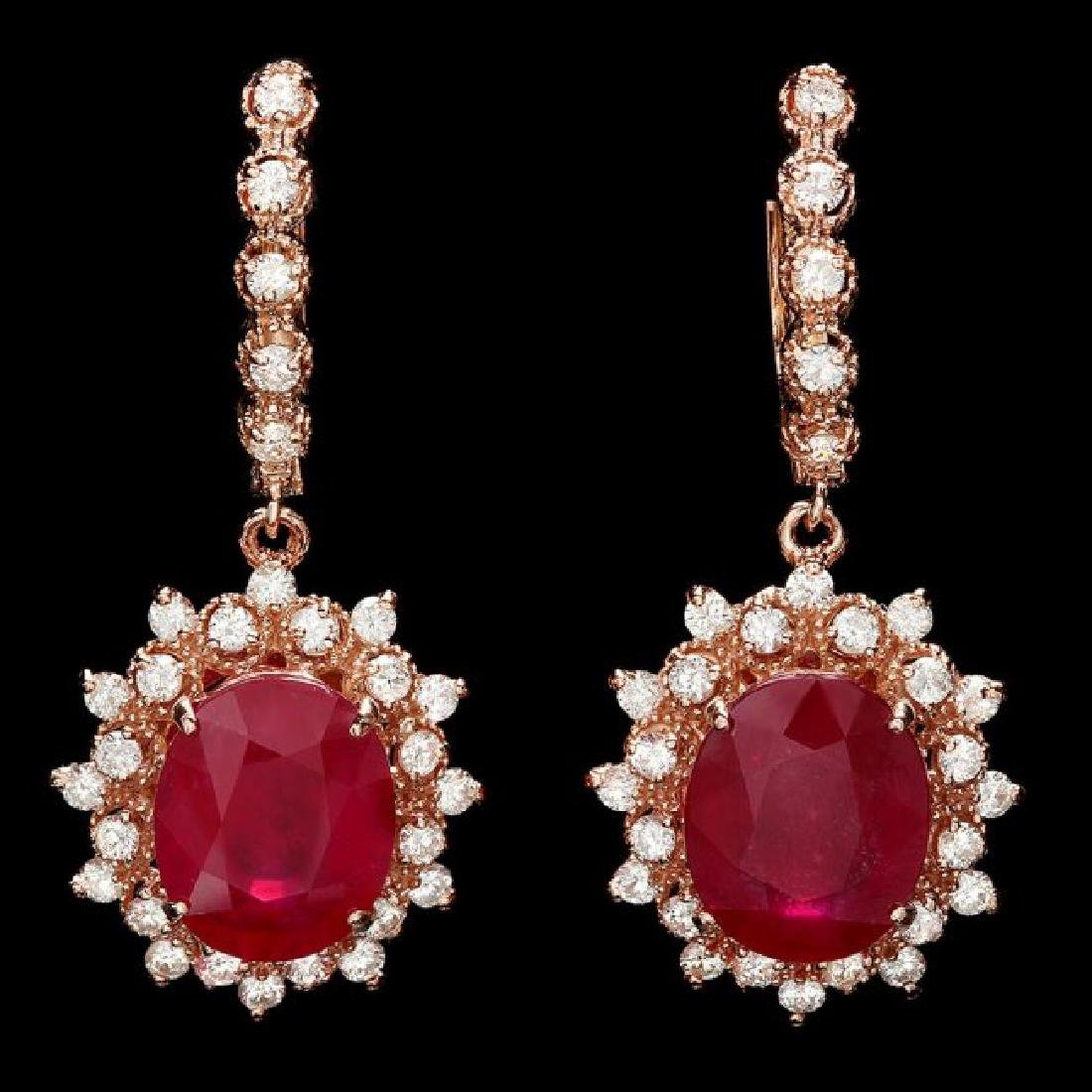 14k Rose 13.50ct Ruby 1.70ct Diamond Earrings