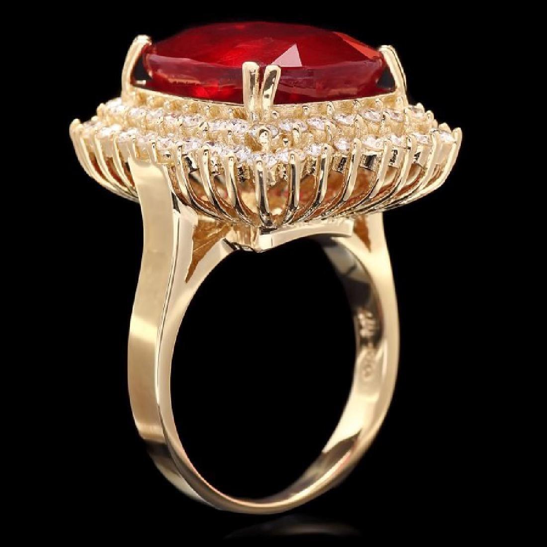 14k Yellow Gold 15.00ct Ruby 1.50ct Diamond Ring - 2