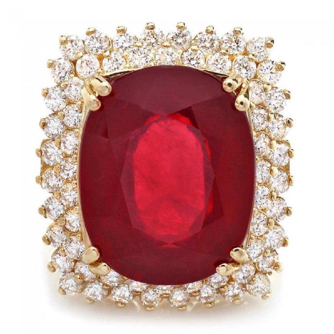 14k Yellow Gold 15.00ct Ruby 1.50ct Diamond Ring - 3