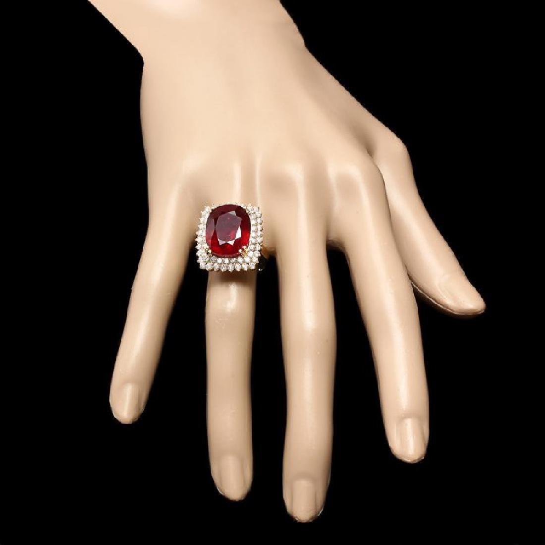14k Yellow Gold 15.00ct Ruby 1.50ct Diamond Ring - 4