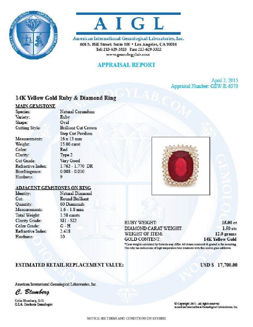 14k Yellow Gold 15.00ct Ruby 1.50ct Diamond Ring - 5