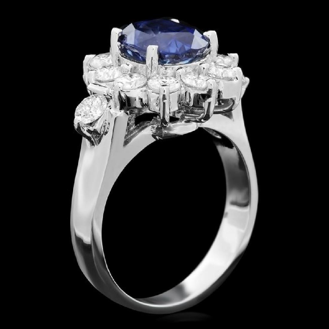 14k Gold 3.00ct Sapphire 1.30ct Diamond Ring - 2