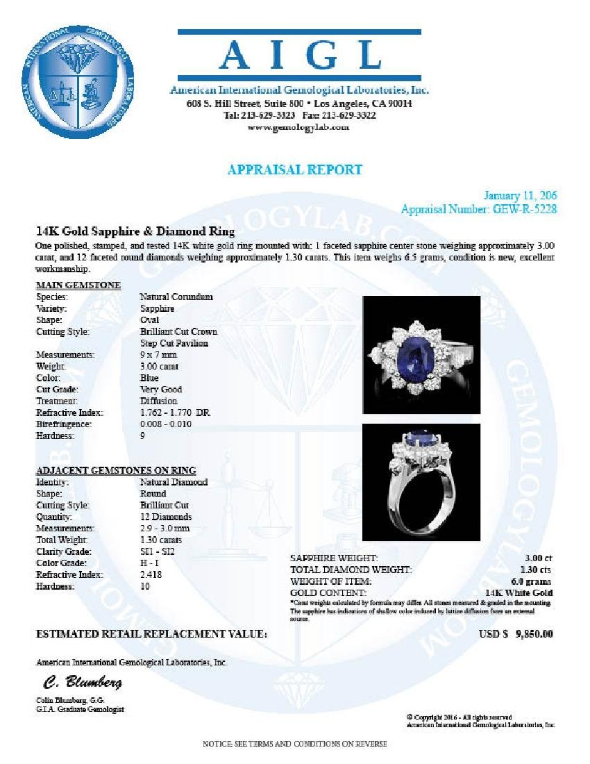 14k Gold 3.00ct Sapphire 1.30ct Diamond Ring - 4