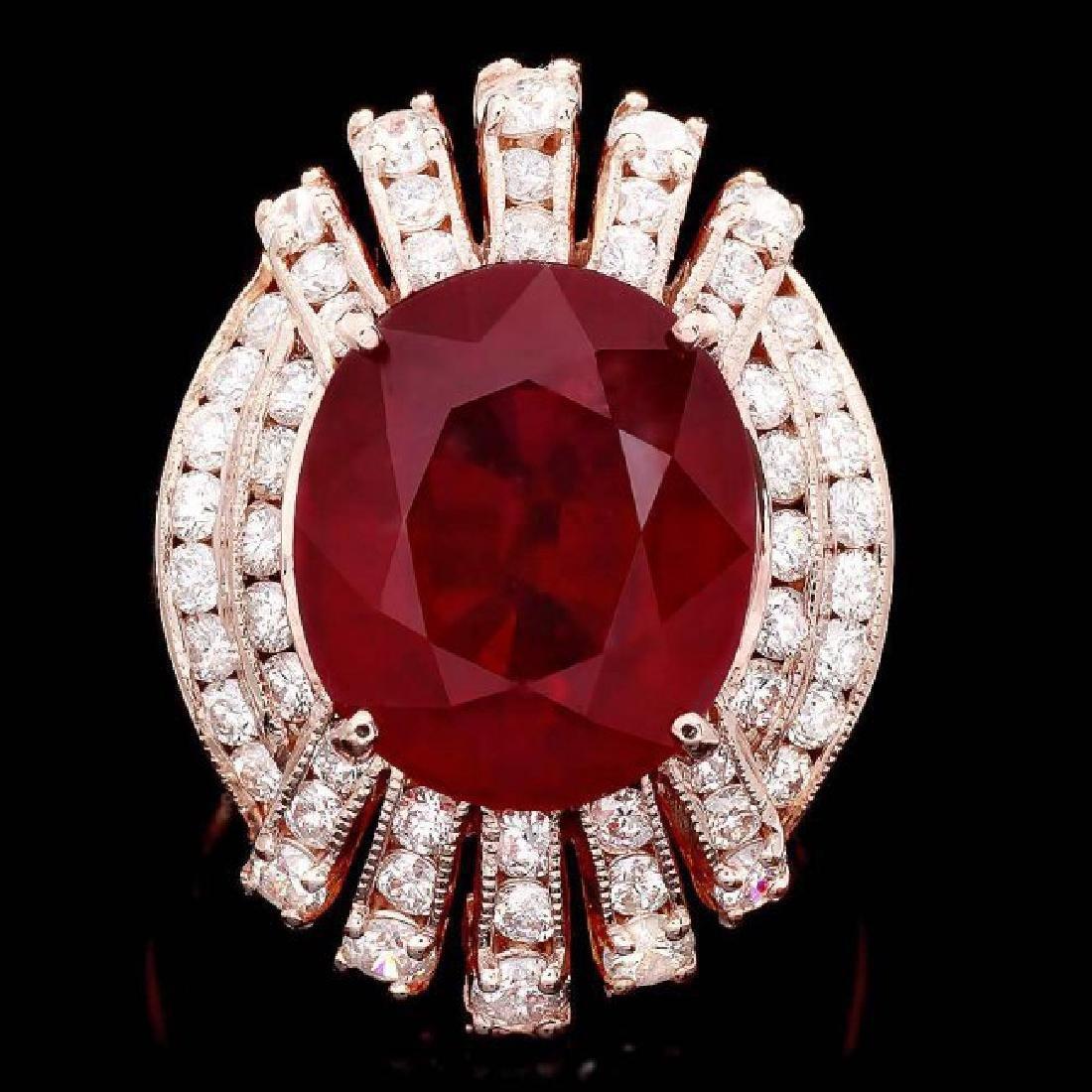 14k Rose Gold 11.80ct Ruby 1.80ct Diamond Ring