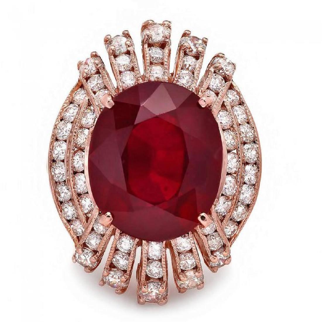 14k Rose Gold 11.80ct Ruby 1.80ct Diamond Ring - 2