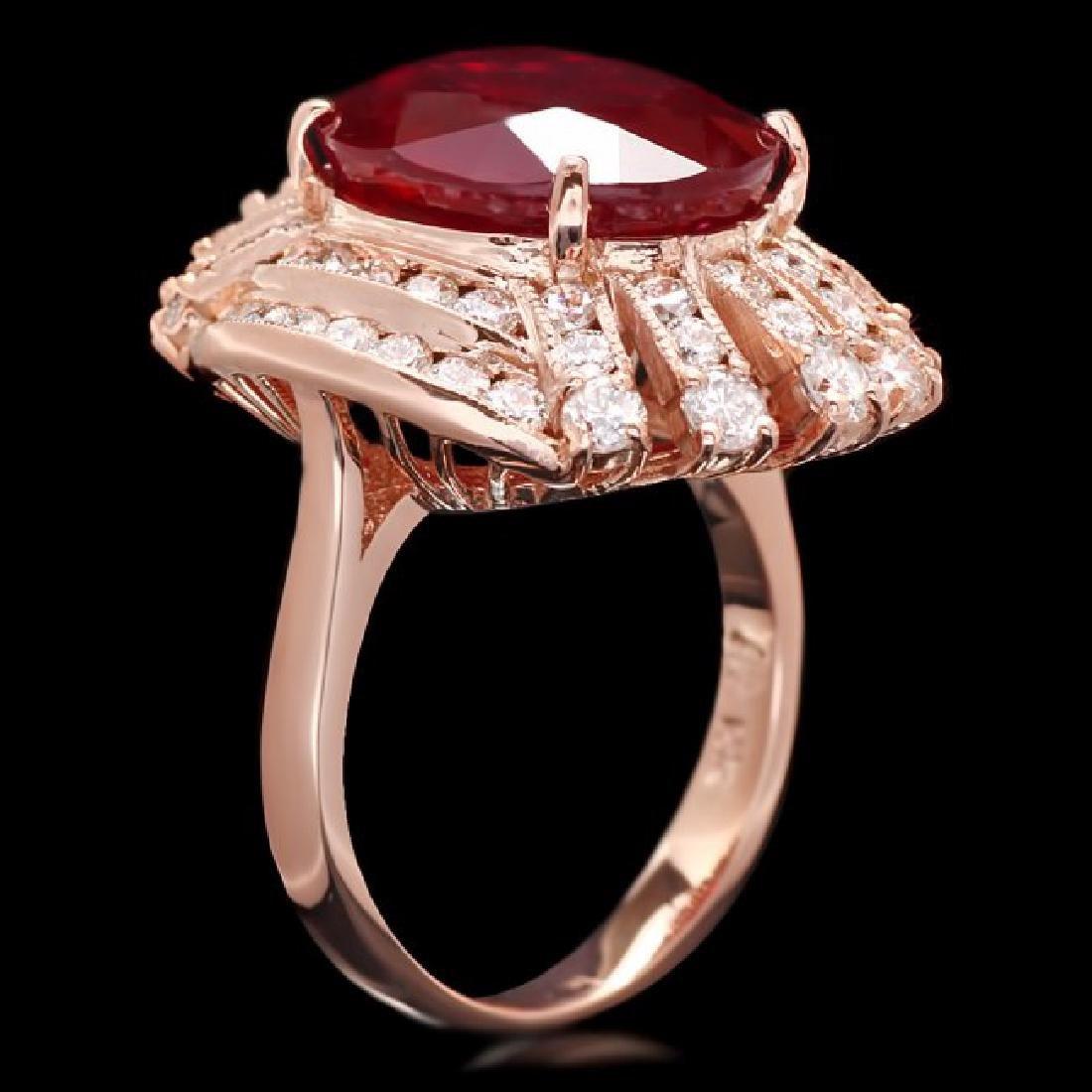 14k Rose Gold 11.80ct Ruby 1.80ct Diamond Ring - 3