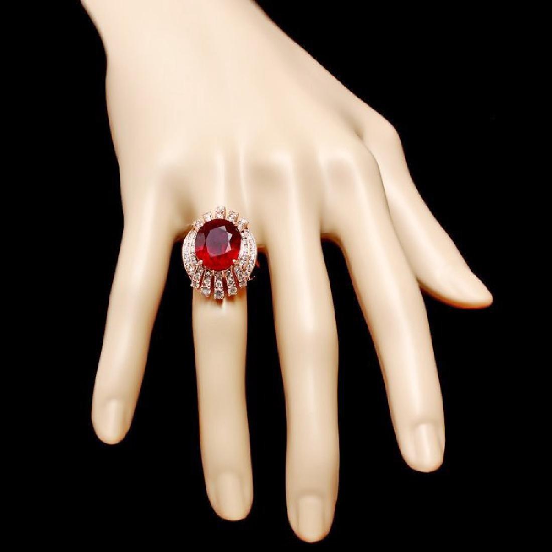 14k Rose Gold 11.80ct Ruby 1.80ct Diamond Ring - 4
