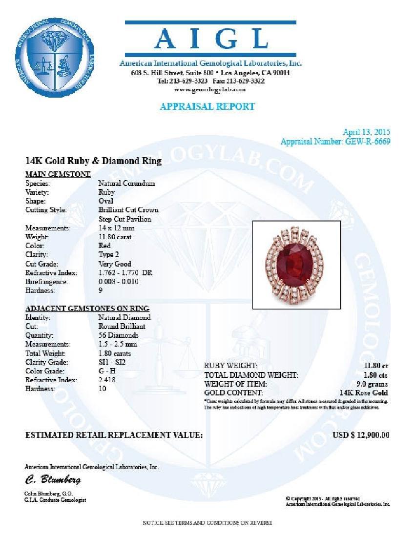 14k Rose Gold 11.80ct Ruby 1.80ct Diamond Ring - 5