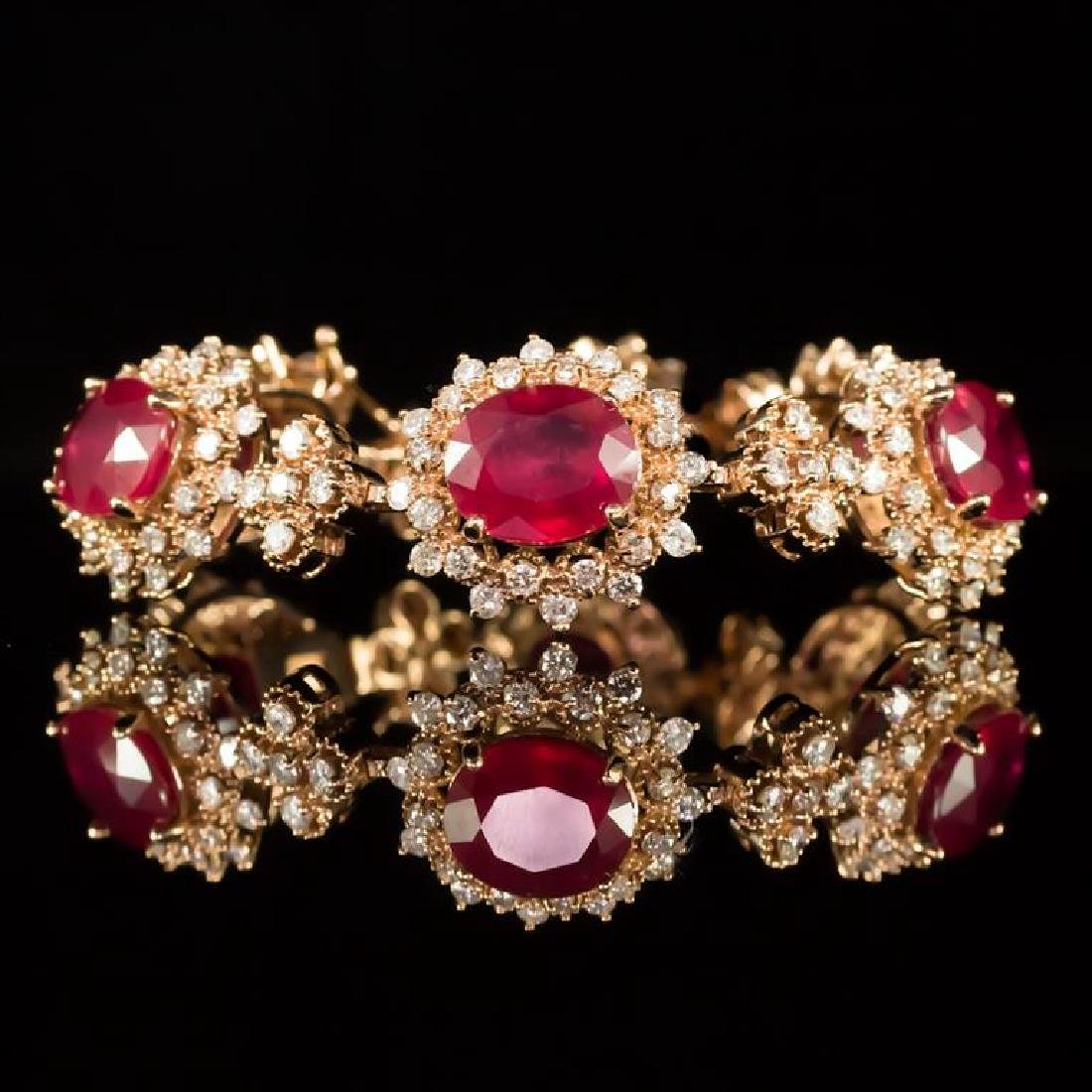 14K Gold 26.24ct Ruby 6.81ct Diamond Bracelet