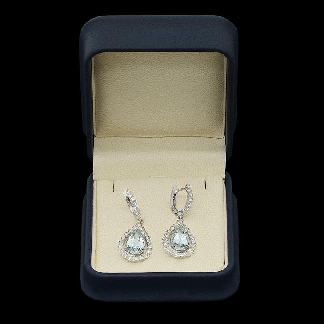 14k Gold 7.68ct Aquamarine 1.65ct Diamond Earrings - 2