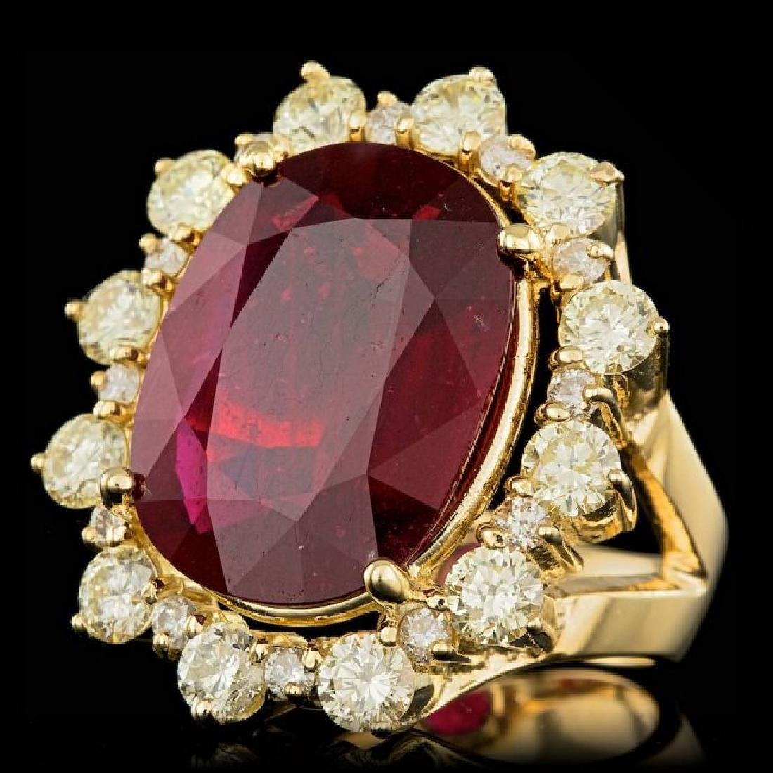 18k Yellow Gold 13.50ct Ruby 2.75ct Diamond Ring