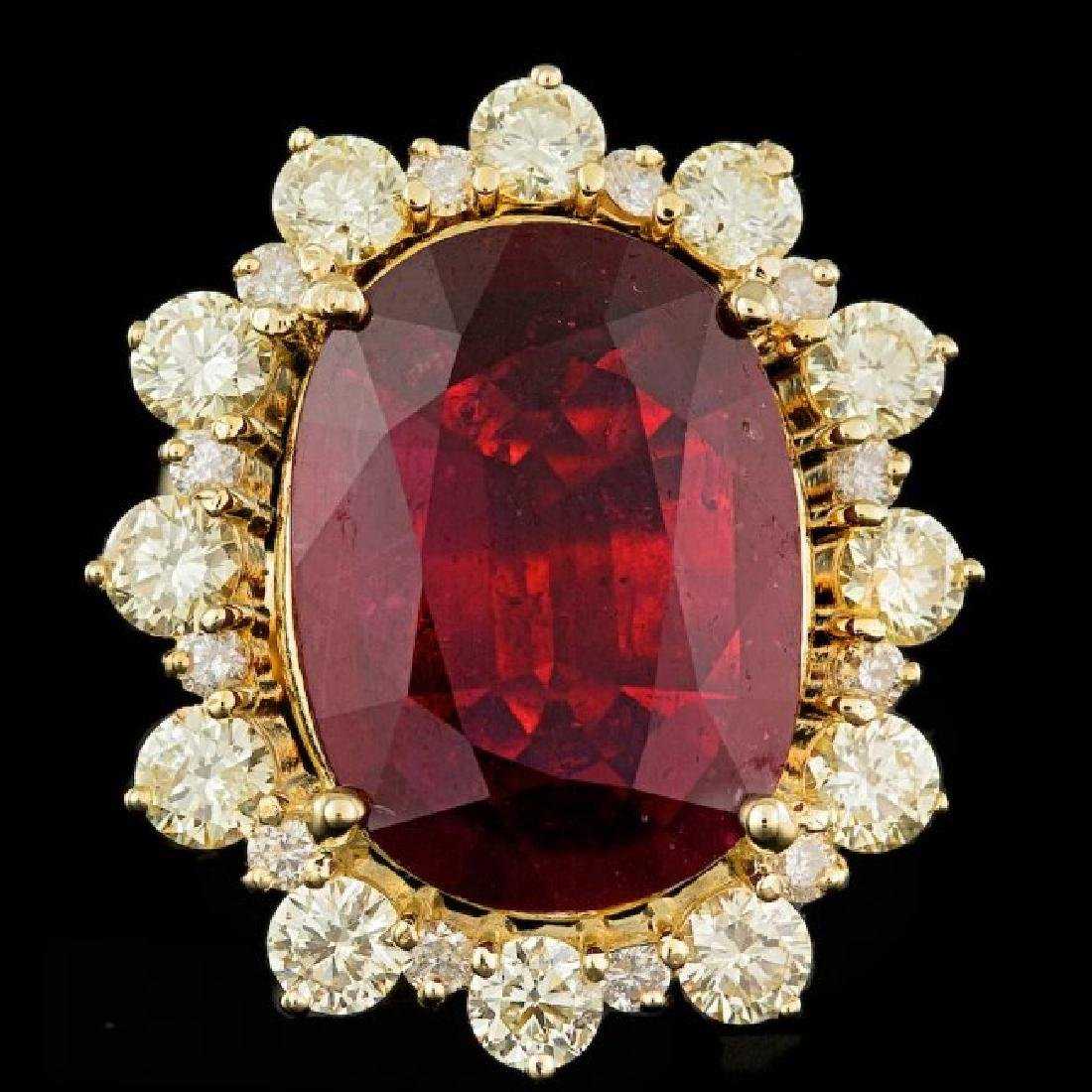 18k Yellow Gold 13.50ct Ruby 2.75ct Diamond Ring - 2