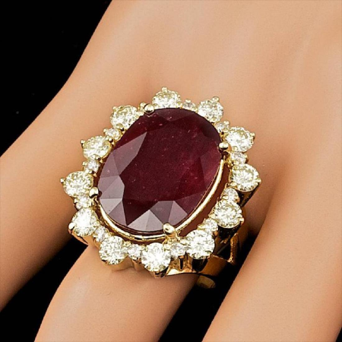 18k Yellow Gold 13.50ct Ruby 2.75ct Diamond Ring - 3