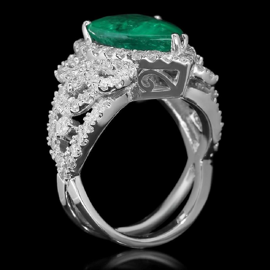 14K Gold 4.55 Emerald 1.20 Diamond Ring - 2