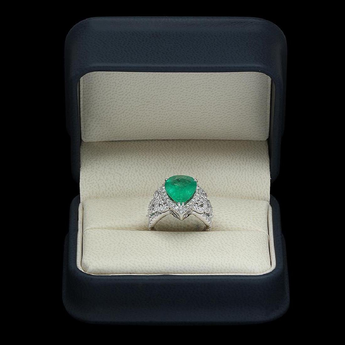 14K Gold 4.55 Emerald 1.20 Diamond Ring - 4